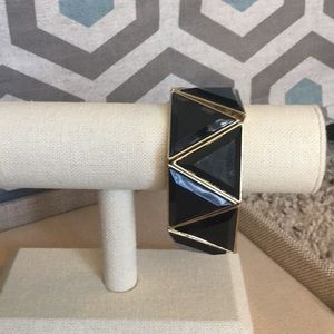 Black Enameled Stretch Bracelet